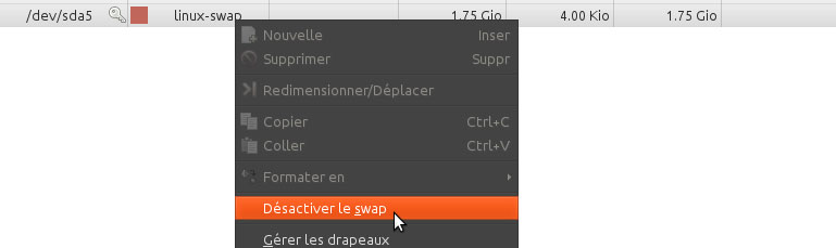 INDISPENSABLE : Dé-verrouiller la partition SWAP pour redimensionner.
