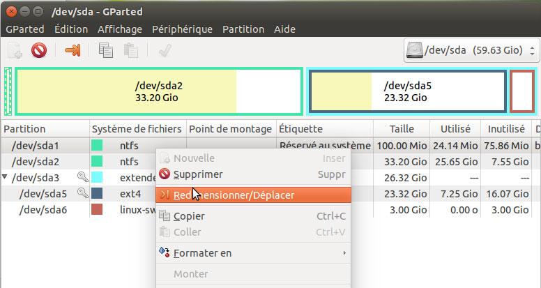 Redimentionner partition  windows 7 depuis Gparted Cubuntu Ubuntu - NTFS /dev/sda2